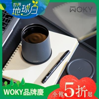 【WOKY 沃廚】360° 輕芯鈦瓷真空雙蓋保溫杯350ml(帽子杯)