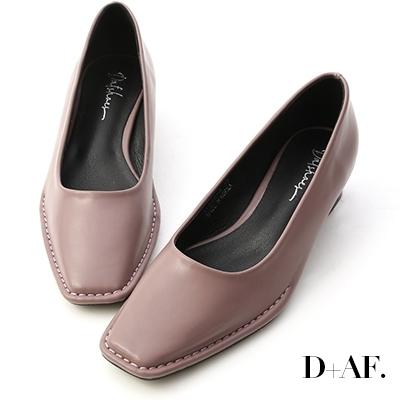 D+AF 神秘色調.獨特車線方頭中跟鞋*紫