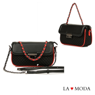 La Moda精緻工藝小香風多背法肩背斜背手提小包鏈帶包