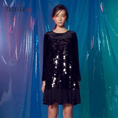 JESSICA RED - 亮片拼接設計洋裝(黑)
