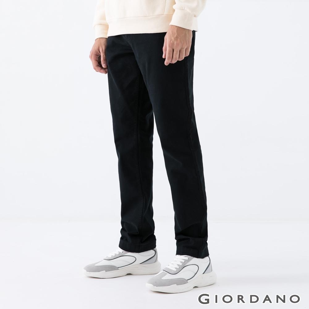GIORDANO 男裝超彈力基本款錐形長褲-09 標誌黑