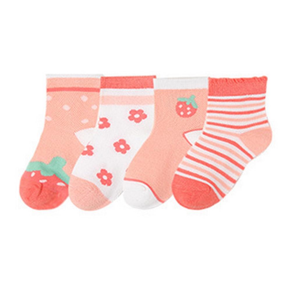 Baby童衣 女童襪子四雙組 夏日網眼童襪 88714