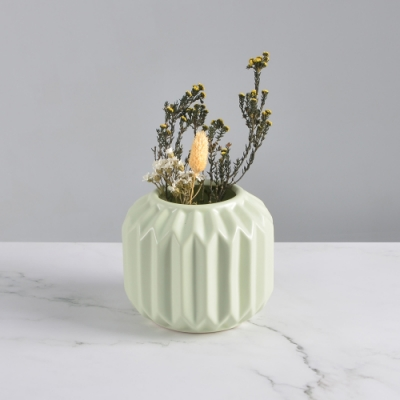 Meric Garden-北歐ins風創意摺紙陶瓷花瓶/花器_小(馬卡龍綠)