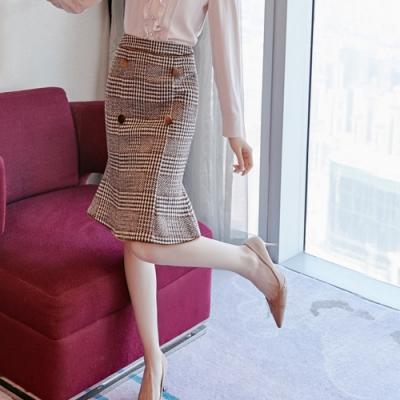 設計所在Lady-毛呢中長格子OL魚尾短裙(S-XL可選)
