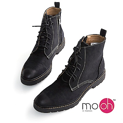 mo.oh-厚底尖頭拉鍊馬丁短靴-黑色