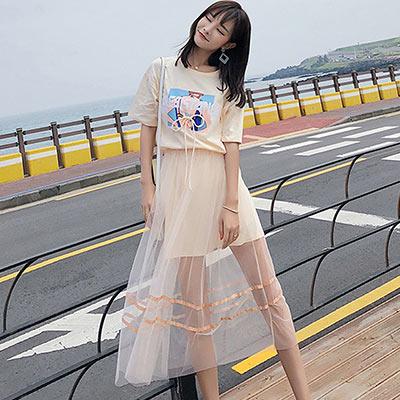 個性印花洋裝+網紗半身裙兩件套 (共三色)-Kugi Girl