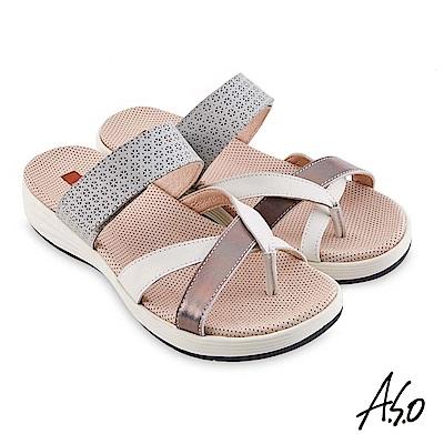 A.S.O機能休閒輕穩健康真皮異材質休閒涼鞋淺灰