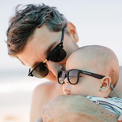 美國Hipsterkid 抗UV偏光時尚嬰幼兒童太陽眼鏡(附固定繩) - 黑