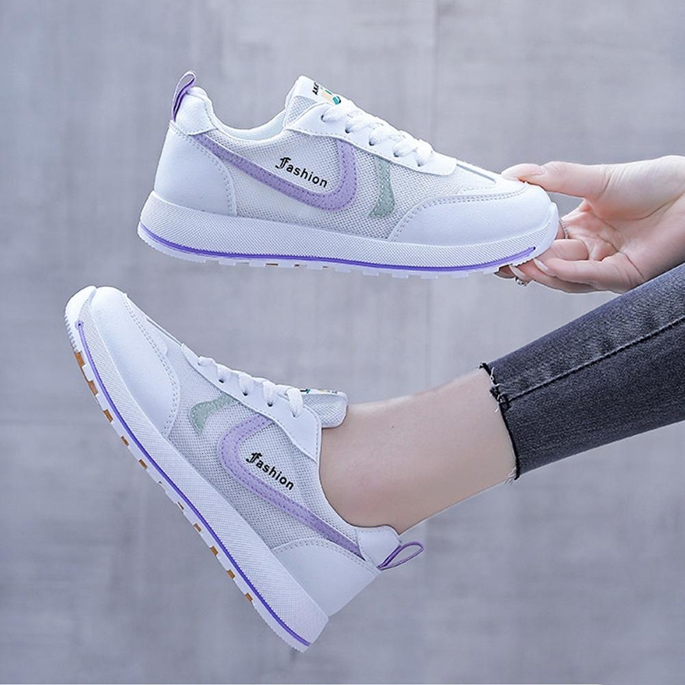 LN  現+預 韓版厚底撞色鬆糕小白鞋(厚底鞋/休閒鞋) (紫色)
