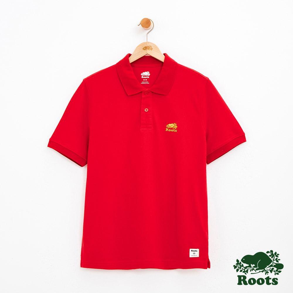 男裝Roots 左胸金繡短袖POLO衫-紅