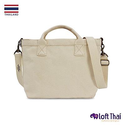 Loft THAI | 泰.真皮帆布兩用每日包 | White