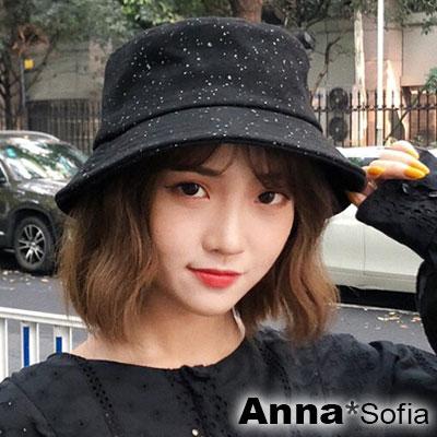 AnnaSofia 雪點軟絨 軟式平頂漁夫帽盆帽(酷黑系)