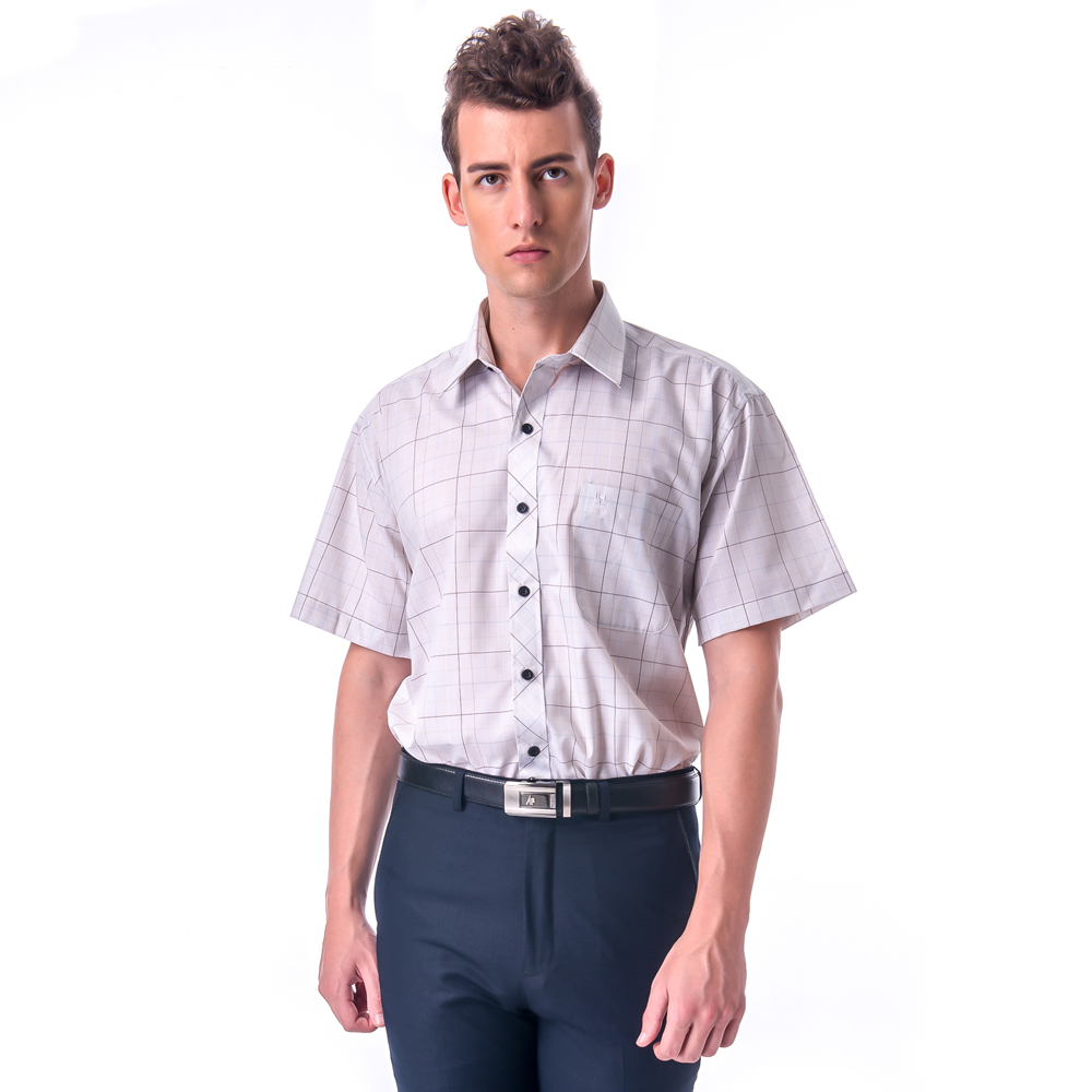 金‧安德森 棕藍白線大格短袖襯衫