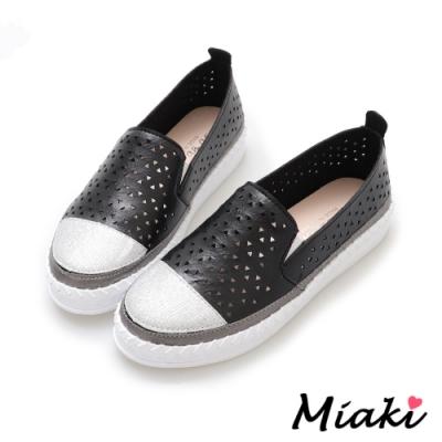 Miaki-休閒鞋潮流必買拼色懶人鞋-黑