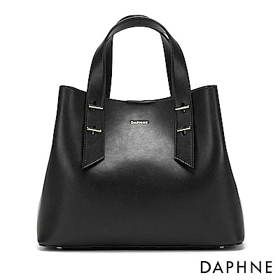 達芙妮DAPHNE-素面簡約手提肩揹兩用包-黑