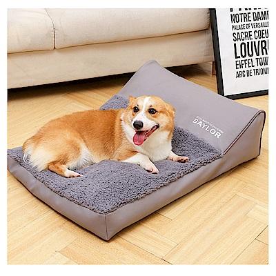 寵愛有家-中大型犬皮革花絨經典灰設計款秋冬保暖寵物窩