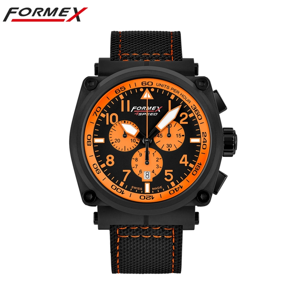 Formex 弗美克斯飛行系列石英計時碼錶 (黑x橘圈)1100.4.3064.218