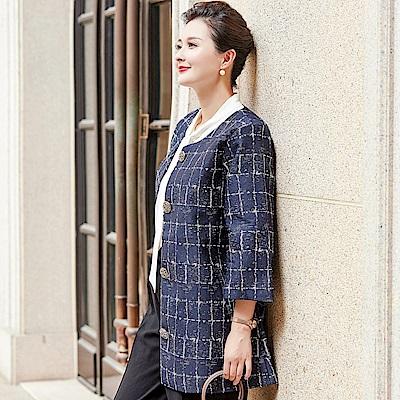 質感斑駁格紋印花大衣外套XL~4XL(共二色)-理子時尚