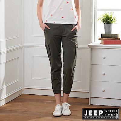 JEEP 女裝 簡約休閒素面縮口長褲-軍綠