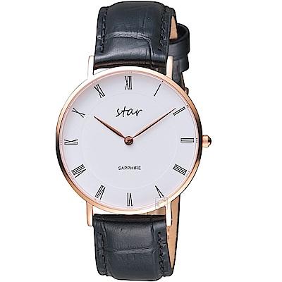 STAR 時代羅馬極簡時尚女腕錶(7T1902-341RG-WD)- 黑皮