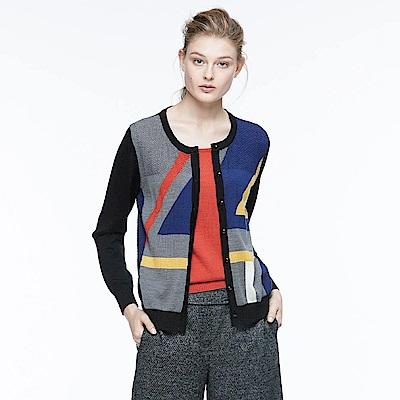 ILEY伊蕾 時尚幾何假兩件針織上衣(黑)