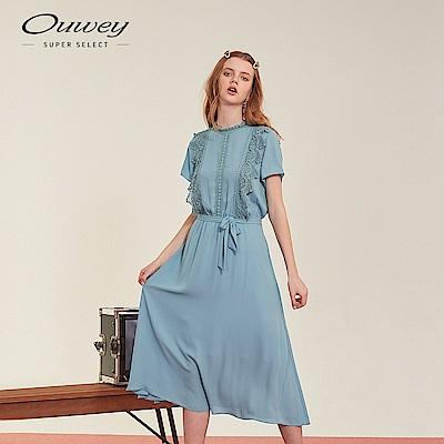 OUWEY歐薇 水溶蕾絲小立領長洋裝(黑/藍)