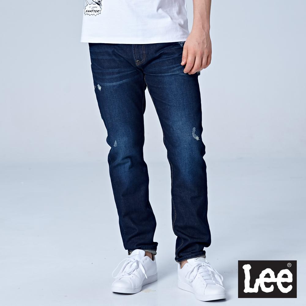 Lee 731中腰舒適小直筒牛仔褲/MARVEL-深藍