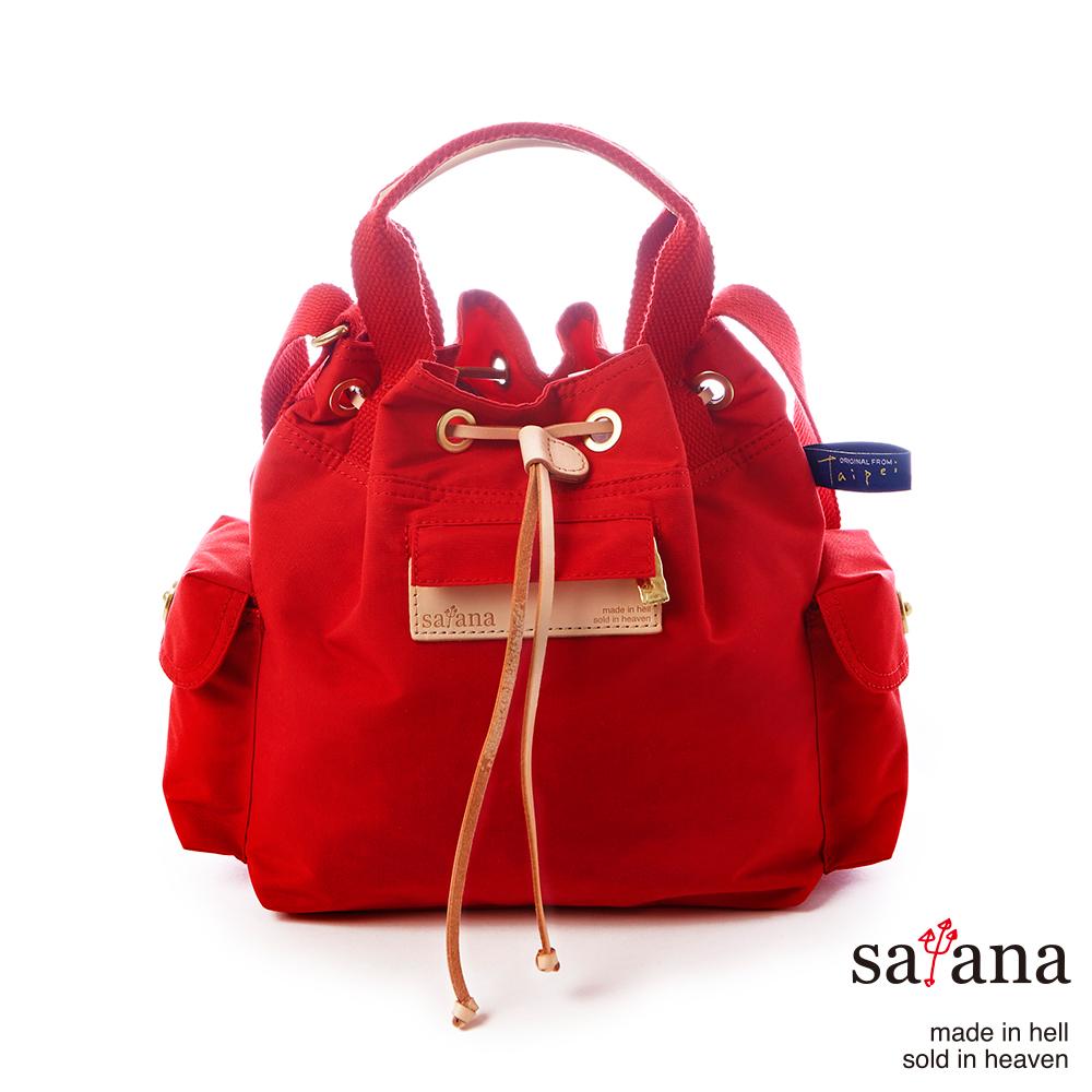satana - Mini抽繩水桶包 - 中國紅