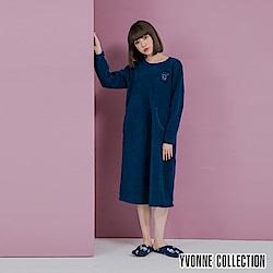 YVONNE胸前貓頭鷹圖案搖粒布長袖洋裝-深藍