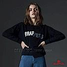 BRAPPERS 女款 不對稱LOGO印花造型長袖T-深藍