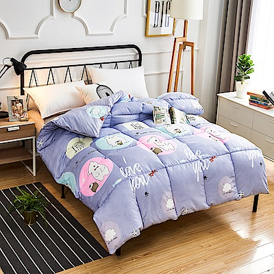A-one - 可水洗-單人床包/雙人羽絲絨被三件組_小白熊