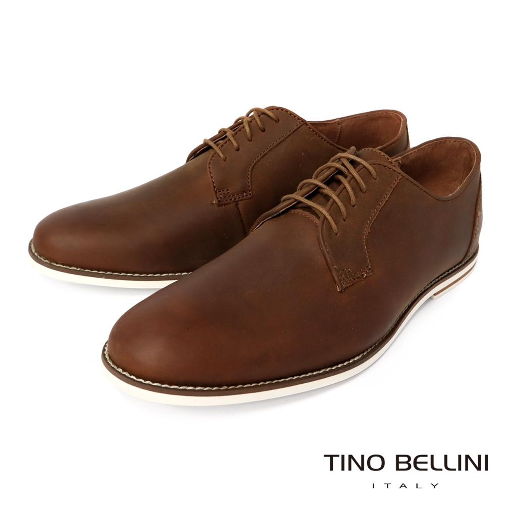 TINO BELLINI 男款 素面皮革工藝綁帶休閒紳士鞋
