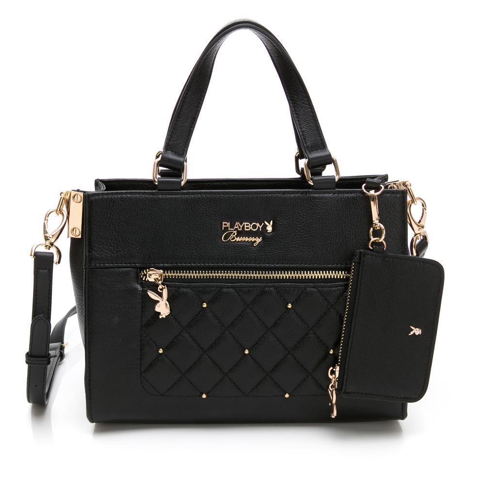 PLAYBOY- 手提包附長背帶  法國晶鑽系列 -黑色