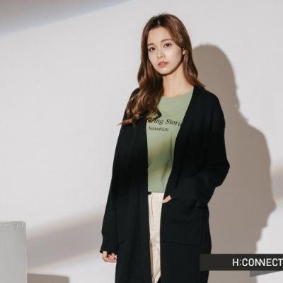 H:CONNECT 韓國品牌 女裝-長板開襟針織外套-黑