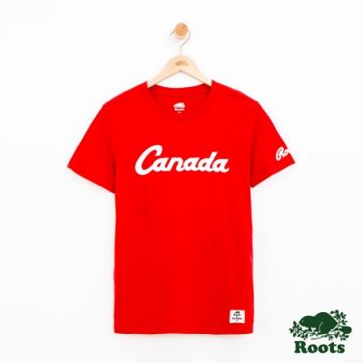 女裝Roots 加拿大短袖T恤-紅色