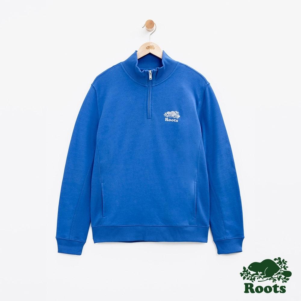 男裝Roots  BREATHE立領上衣-藍
