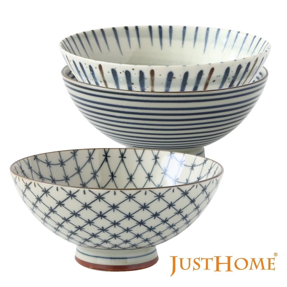 Just Home日本製十草陶瓷毛料飯碗3件組(3種花色)
