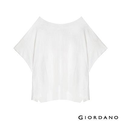 GIORDANO 女裝簡約素色寬版T恤-01 皎雪色