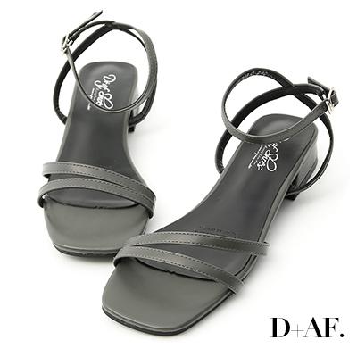 D+AF 神秘色彩.一字斜帶方頭低跟涼鞋*深綠