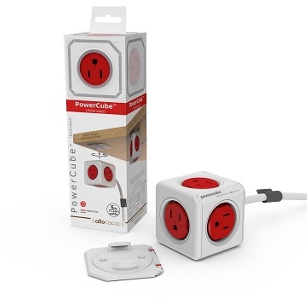 【PowerCube】 魔術方塊延長線(紅色) 紅→5面插座、3孔、1.5米