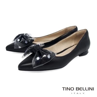 Tino Bellini 俏麗大蝴蝶結尖頭低跟娃娃鞋_黑