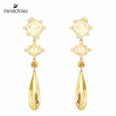 施華洛世奇 Olive 淡金色華麗悅目垂飾穿孔耳環