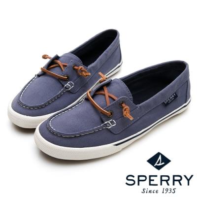 SPERRY 經典水洗無綁帶休閒鞋(女)-灰藍