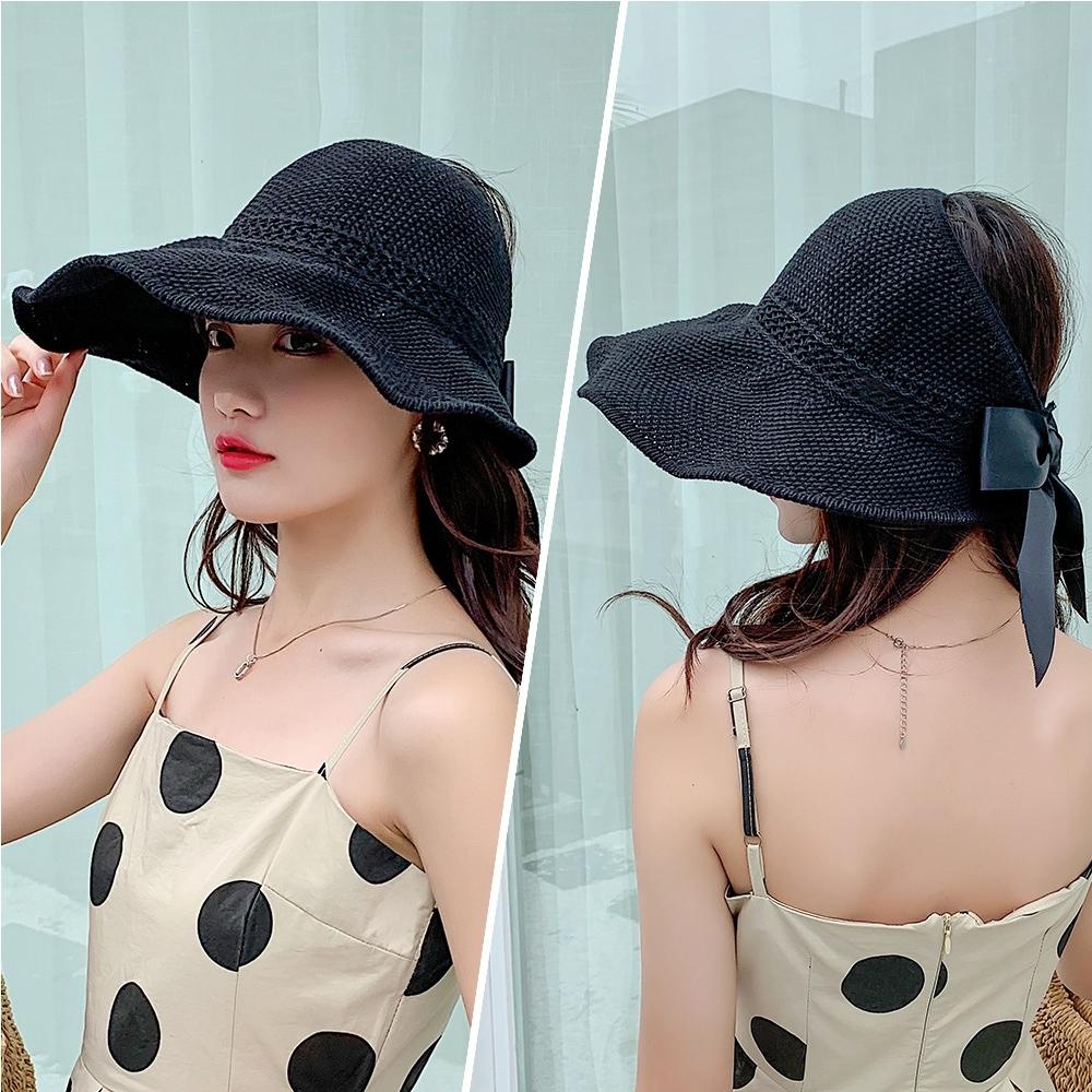 【KISSDIAMOND】大帽檐可折疊編織麻棉遮陽帽(防曬/全防護/好收納/黑色)