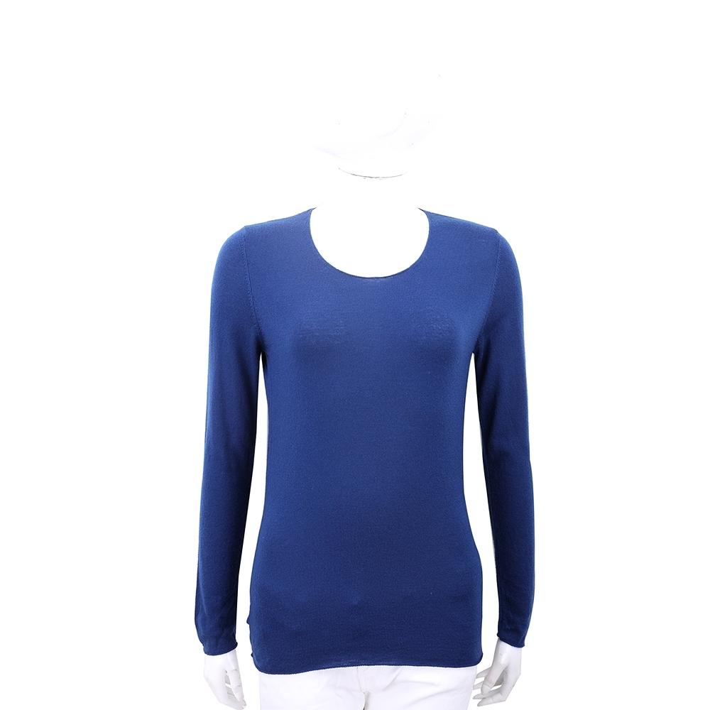 Andre Maurice 喀什米爾捲邊藍色針織羊毛衫