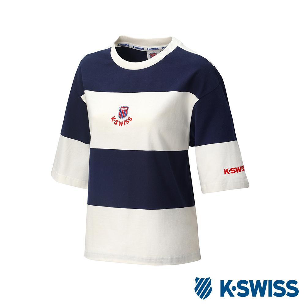 K-SWISS Col. Block Loose Tee印花短袖T恤-女-藍