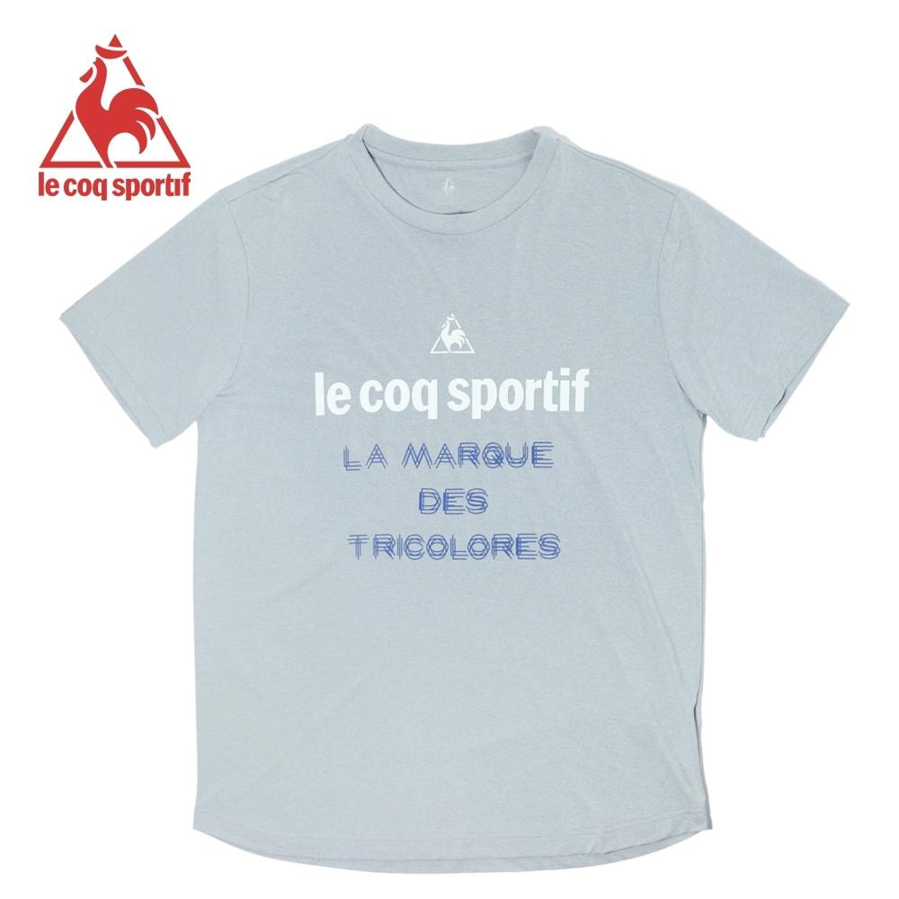 le coq sportif 法國公雞牌基礎文字印花運動吸排短袖T恤 男-淺灰