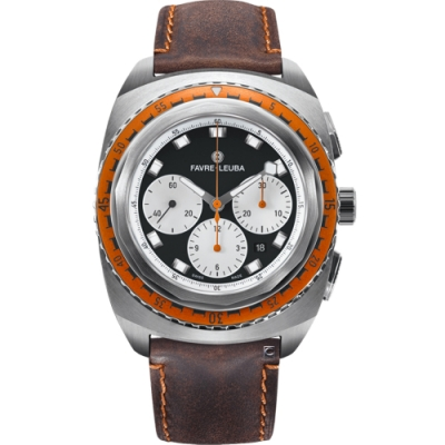 Favre-Leuba域峰表RAIDER系列SEA SKY腕錶-黑x咖啡皮/44mm