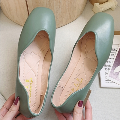 KEITH-WILL時尚鞋館 氣質OL百搭圓尖平底鞋-綠色