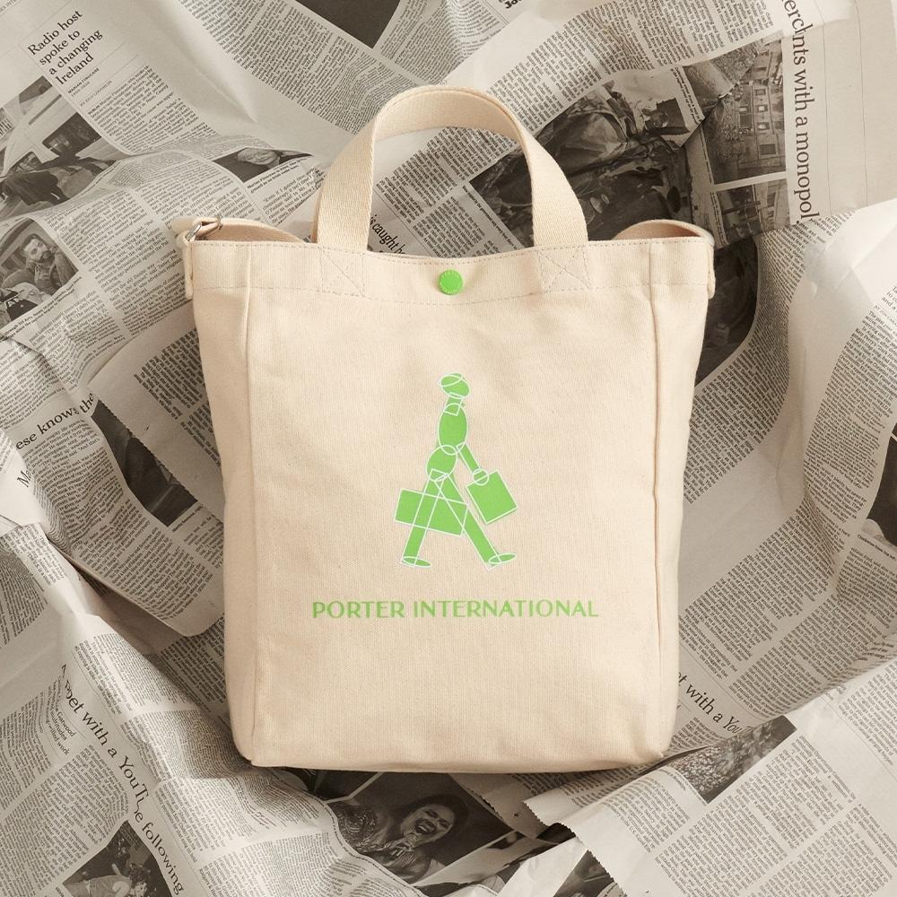 PORTER - 經典紀念B'TWEEN手提斜背兩用托特包 - 胚布配綠